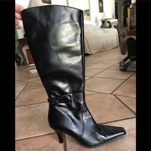 DENISE, black,size 38,high hill leather high boots